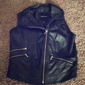 Black leather vest!